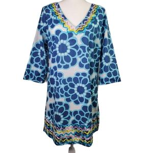 BODEN Size 14 BOLD RETRO FLORAL V-NECK SHIFT DRESS
